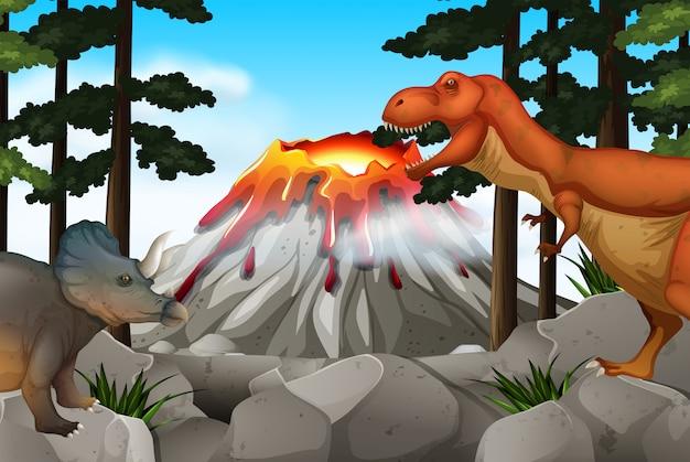 恐竜と火山のあるシーン 無料ベクター