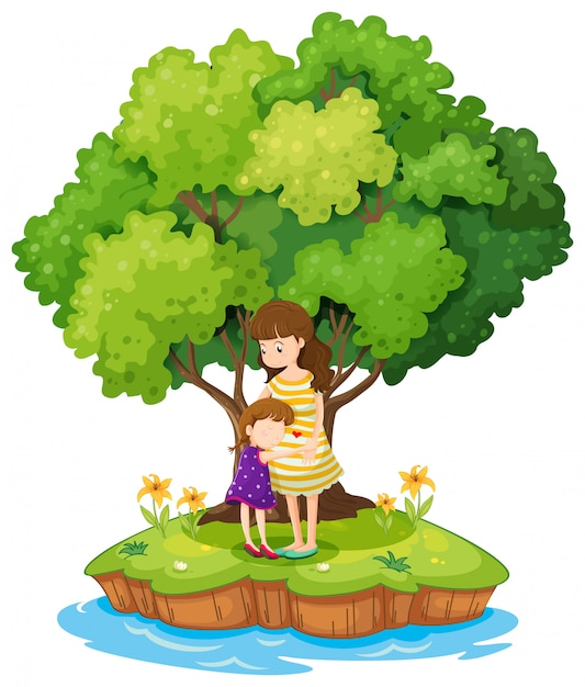Остров с матерью и дочерью Бесплатные векторы