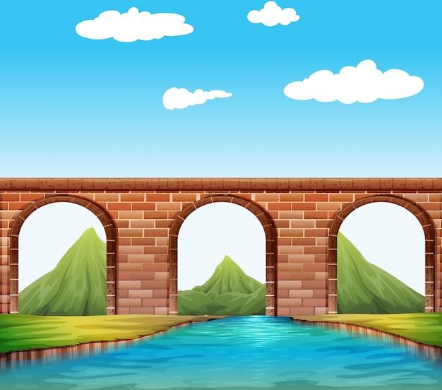 川に架かる橋 無料ベクター