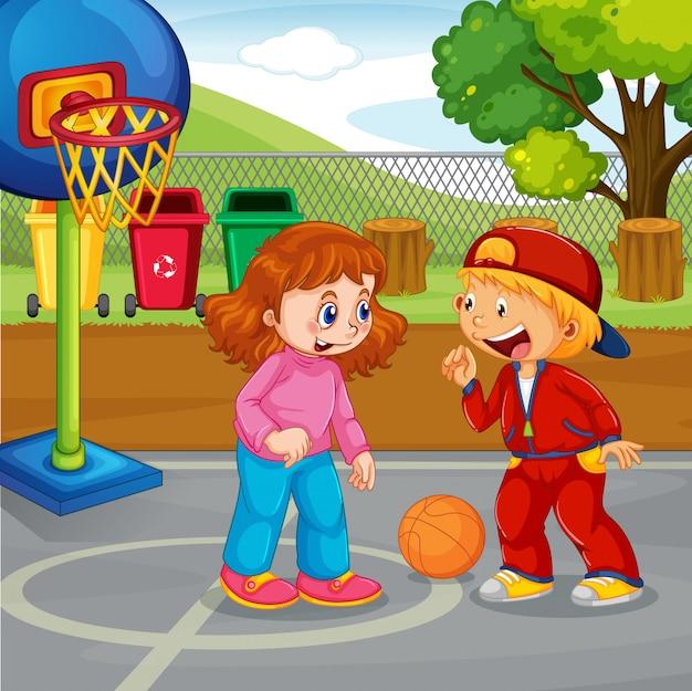 公園で子供のバスケットボール 無料ベクター