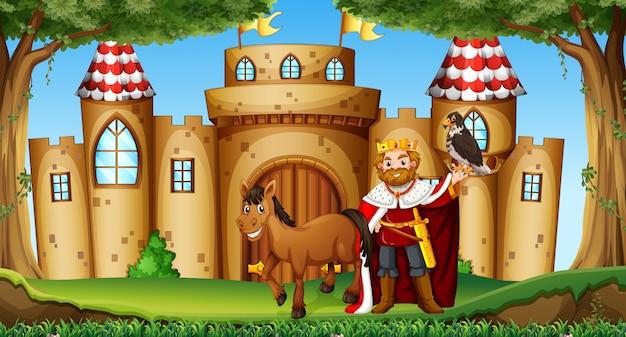 王と馬の城 無料ベクター