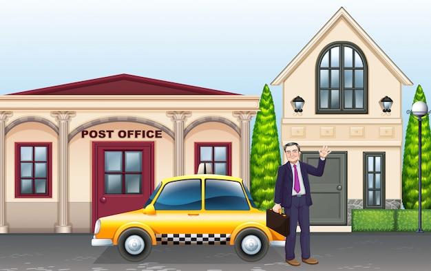 郵便局の前で男とタクシー 無料ベクター