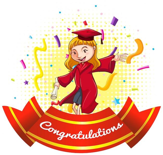 卒業ガウンの女の子とお祝いのサイン 無料ベクター
