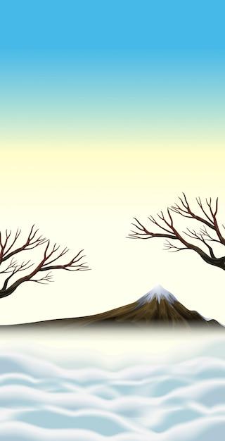 Сцена со снежной вершины на горе Бесплатные векторы