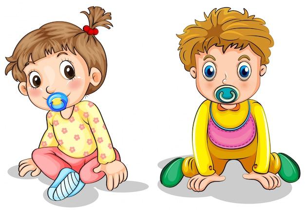 Маленький мальчик и маленькая девочка Бесплатные векторы