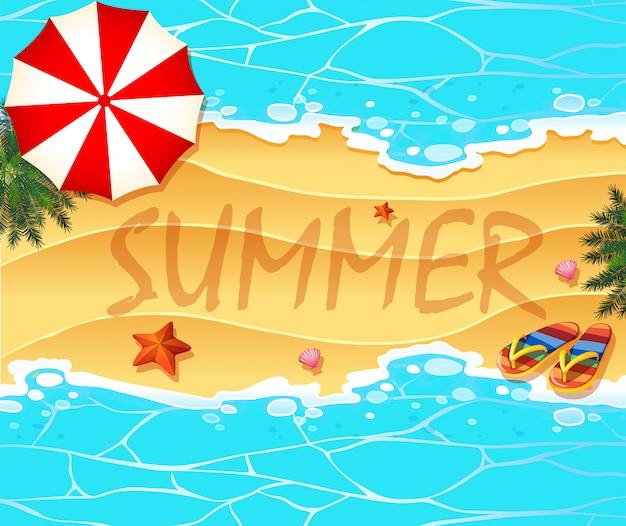 ビーチと海の夏のテーマの背景 無料ベクター