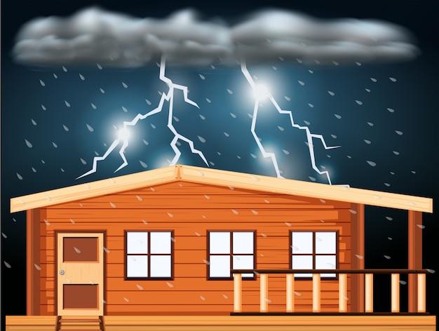 家の向こうに雷雨のあるシーン 無料ベクター