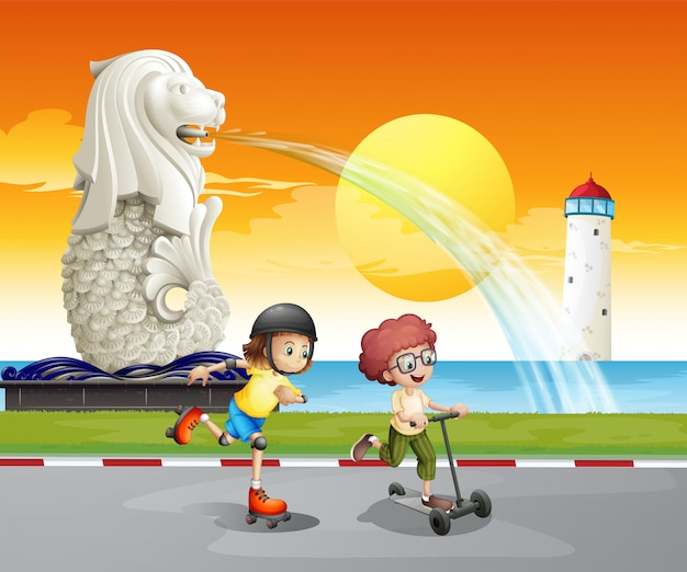 マーライオンの像の近くで遊ぶ子供たち 無料ベクター