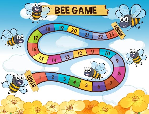 飛んでいる蜂とボードゲームテンプレート 無料ベクター
