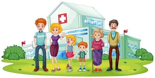 Большая семья возле больницы Бесплатные векторы