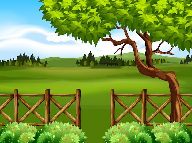 木とフィールドの自然シーン 無料ベクター
