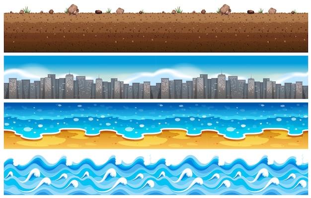 水と街のシームレスな背景 無料ベクター
