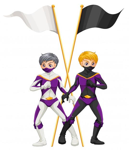 Два супергероя с пустыми баннерами Бесплатные векторы