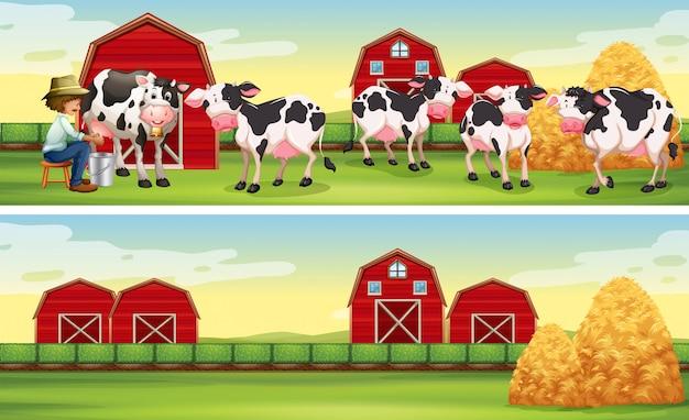 農家と農場で牛 無料ベクター