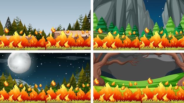 ブッシュ火災の風景の背景のセット 無料ベクター