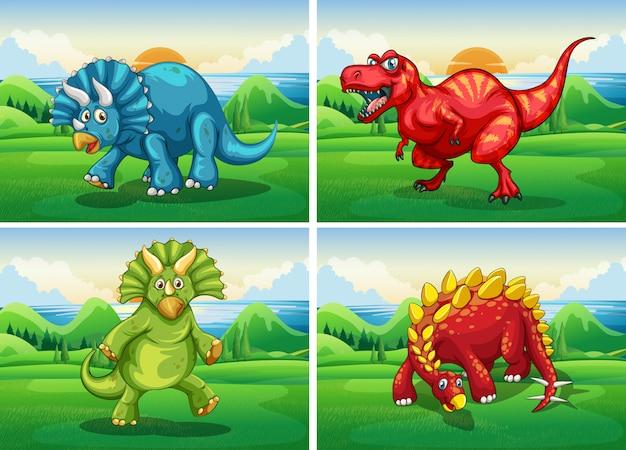 Четыре динозавра, стоящие в поле Бесплатные векторы
