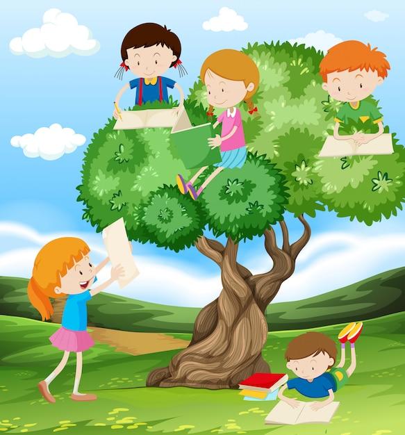 公園で読み書きをしている子供たち 無料ベクター