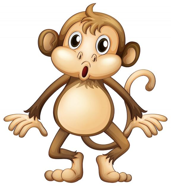 Милая обезьяна стоит одна Бесплатные векторы