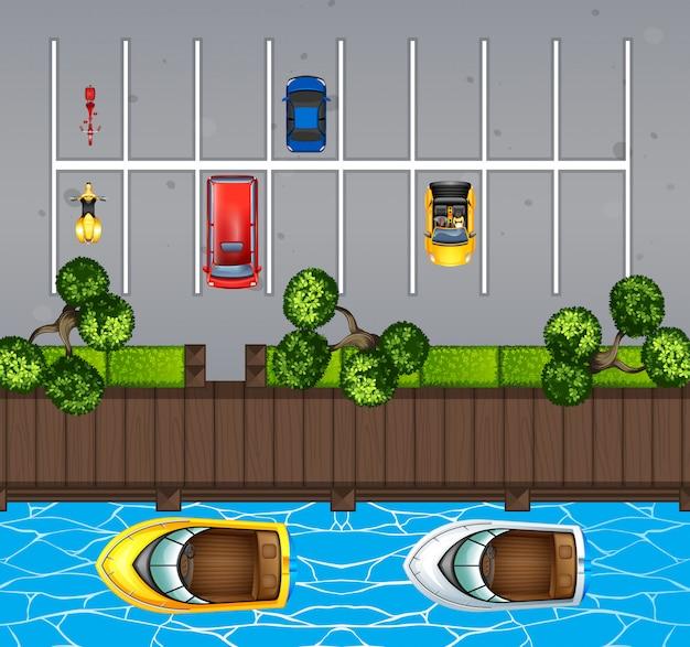 駐車場と桟橋の平面図 Premiumベクター