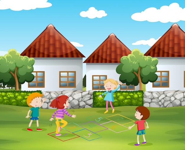 石けりを庭で遊んでいる子供たち 無料ベクター