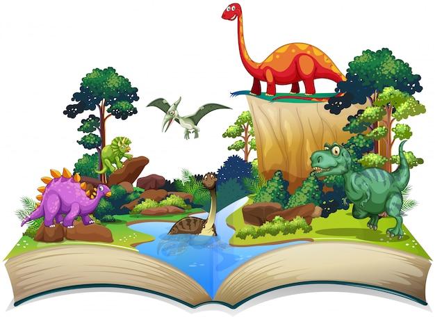 Книга динозавров в лесу Premium векторы