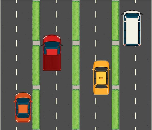 Воздушная сцена с автомобилями на дорогах Бесплатные векторы