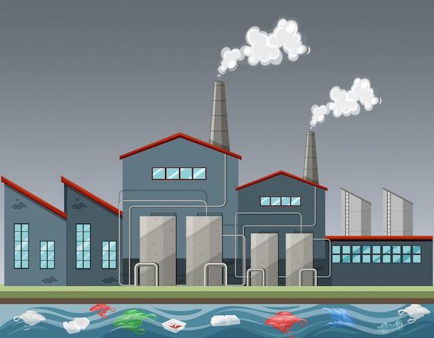 たくさんの煙を出す工場 無料ベクター