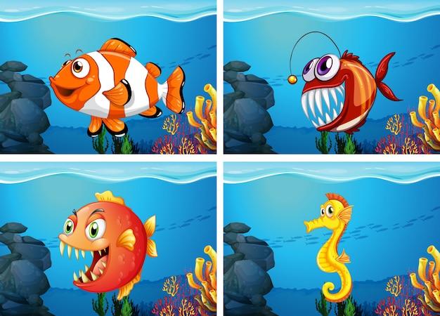 Разные морские животные в море Бесплатные векторы
