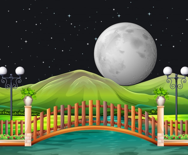 満月と公園のあるシーン 無料ベクター