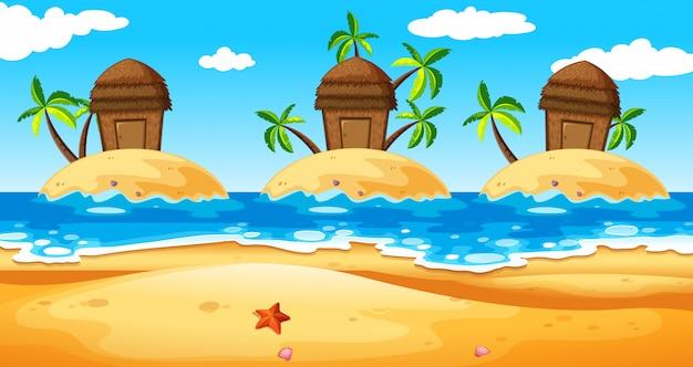 島の小屋のある風景 無料ベクター