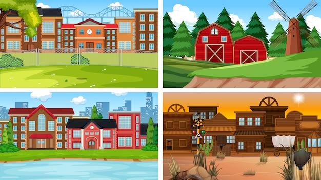 自然の建物のさまざまなシーンの背景のセット 無料ベクター