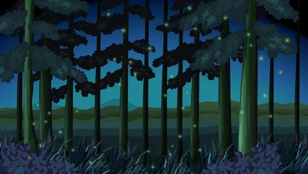 ホタルと夜の森のシーン 無料ベクター