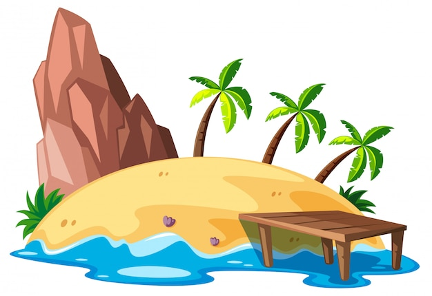島と海の自然シーン 無料ベクター