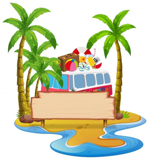 夏のビーチのバナー 無料ベクター