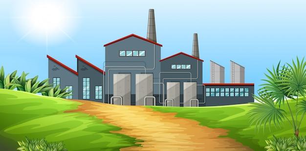現場での工場建設 無料ベクター