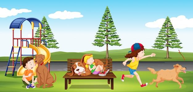 子供たちは公園でぶらぶら 無料ベクター