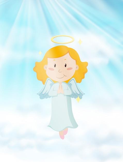 Ангел, летящий в небесах Бесплатные векторы