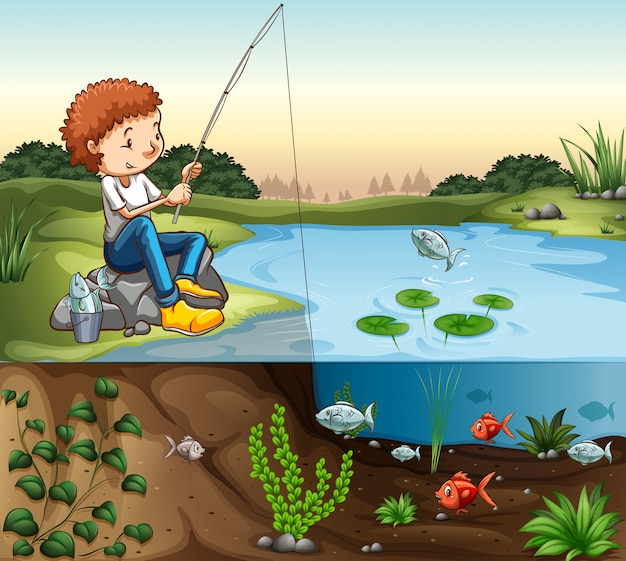 川で釣りをする少年 無料ベクター