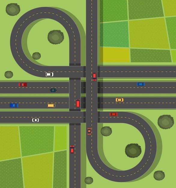 路上で道路とシーンの背景 無料ベクター
