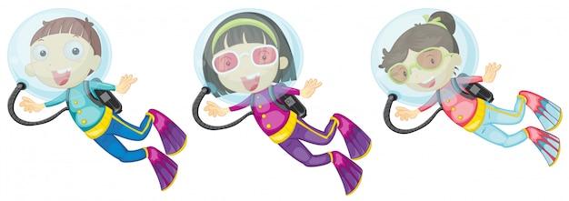 Три аквалангиста Бесплатные векторы