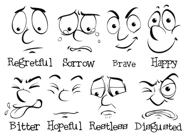 Человеческое лицо с разной эмоцией Бесплатные векторы