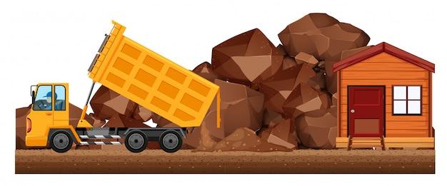 工事現場でダンプカーダンプ土壌 無料ベクター
