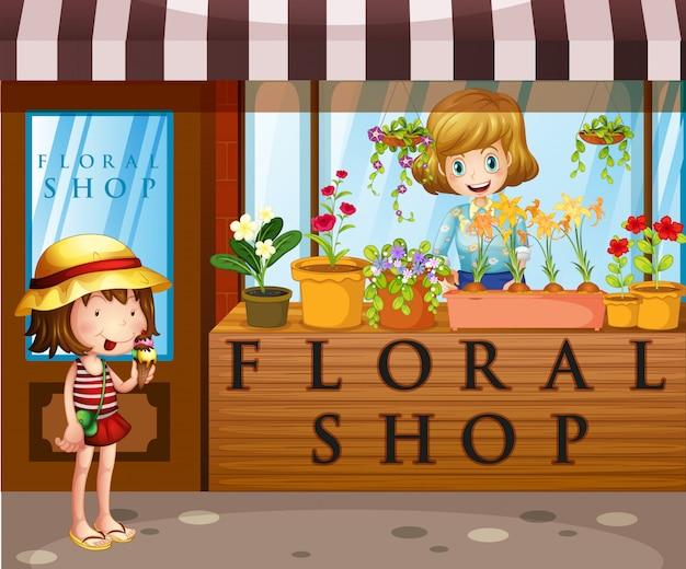 売り手と顧客との花屋 無料ベクター