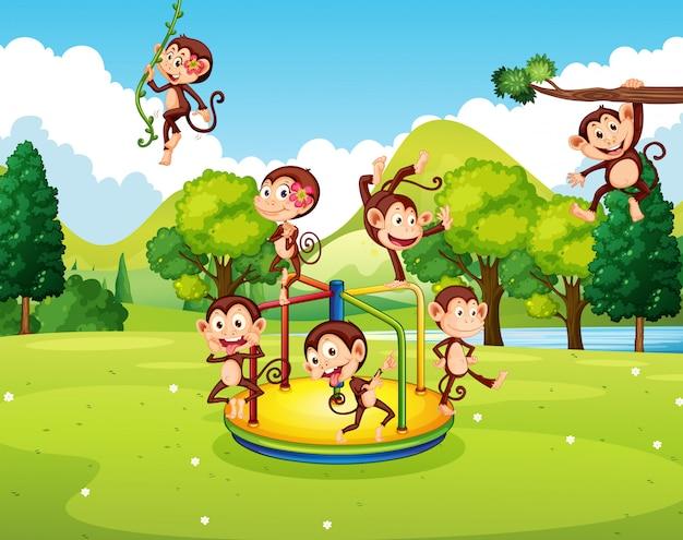 Многие обезьяны играют в парке Бесплатные векторы