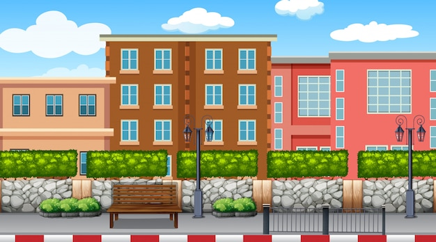 都市のシーンの背景の背景 無料ベクター