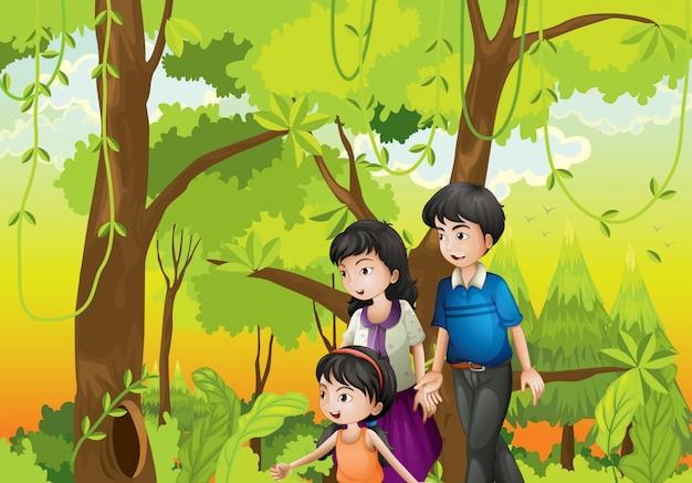家族のいる森 Premiumベクター