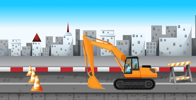 Экскаватор работает на строительстве дороги Бесплатные векторы