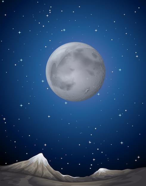 地球上の月とシーンの背景 Premiumベクター