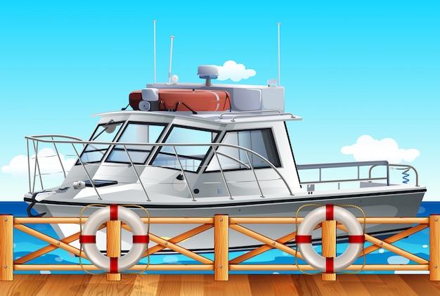 桟橋で漁船公園 Premiumベクター