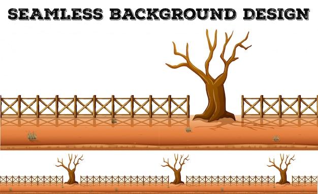 乾燥木とフェンス 無料ベクター